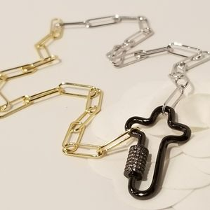 Jewelry - 2 Tone Paperclip Pave CZ Cross Carabiner Necklace